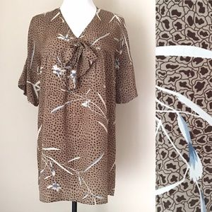 PAUL AND JOE SISTER Tie Front Silk Tunic Blouse